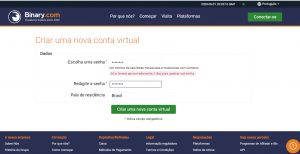 Crie uma nova conta virtual no Binary.com