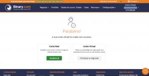 clique na conta virtual para começar a negociar no Binary.com