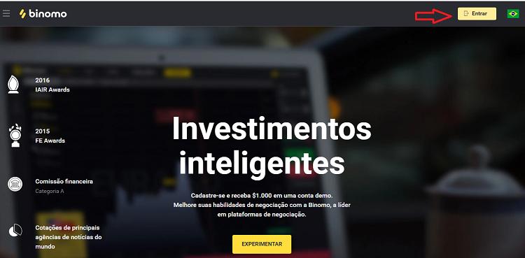página inicial do site da Binomo