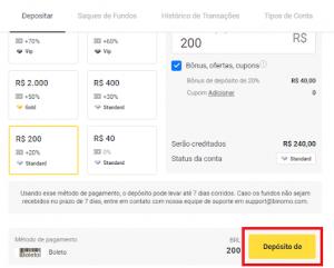 Clique em Depósito de para depositar dinheiro