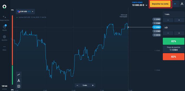 Clique em Depositar na conta plataforma de investimentos da Olymp Trade