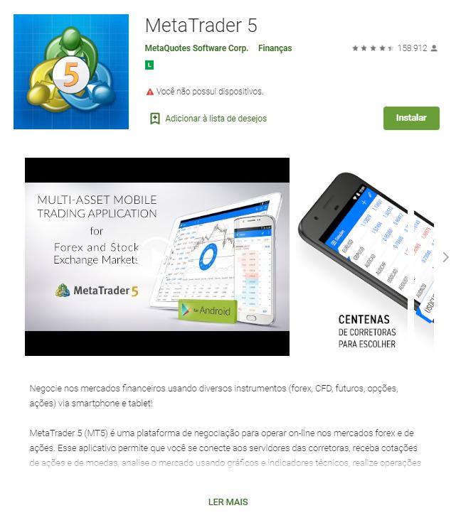 Baixar o app do MT5 no Android