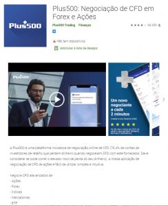 Aplicativo Plus500 para dispositivos móveis