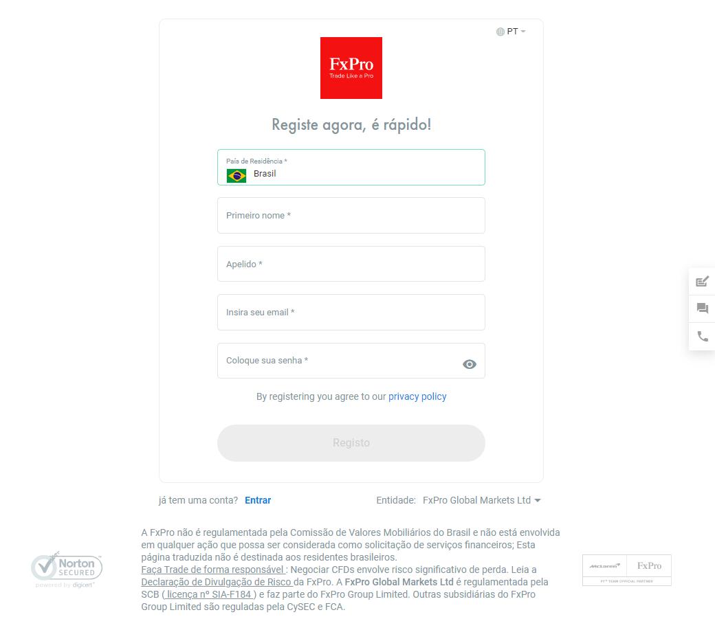 Como registrar FxPro