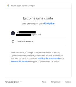Escolha uma conta da Google para prosseguir para a IQ Option